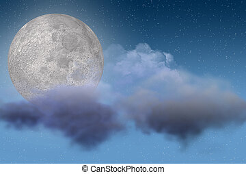 Moon and Cloud Scene - Night Sky