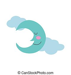 moon and clouds character hand draw style icon