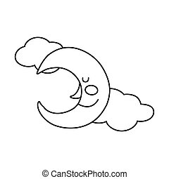 moon and clouds character line style icon