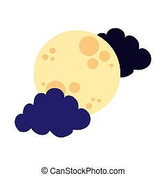 moon and clouds flat style icon vector illustration design
