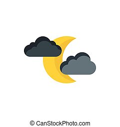 Moon and clouds icon, flat style