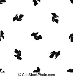 Moon and clouds pattern seamless black