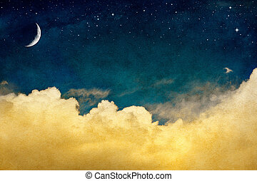 Moon and Cloudscape - A fantasy cloudscape with stars and a...