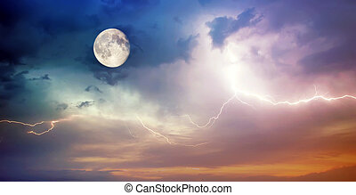 Moon and lightning.