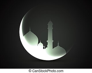 moon and mosque - beautiful moon and mosque vector design