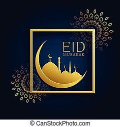 moon and mosque concept design for eid mubarak
