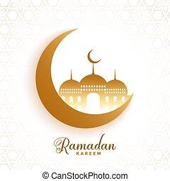 moon and mosque ramadan kareem festival background