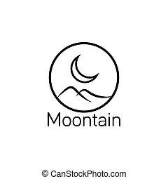 Moon and mountain logo design template vector illustration -...