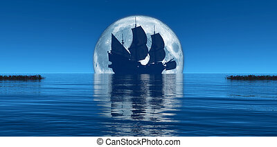 moon and sailing ship - moon and ship sailing on the horizon
