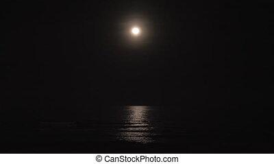 Moon and sea at dark night