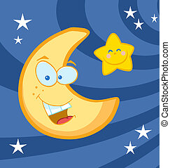 Moon And Star Cartoon Characters