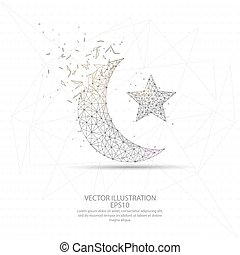 Moon and star digitally drawn low poly wire frame.