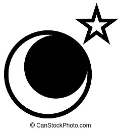 Moon and Star - A star and moon vector drawing isolated over...