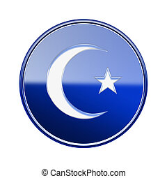 moon and star icon glossy blue, isolated on white background.