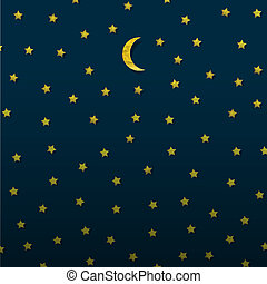 Moon and stars from paper. Vector eps10
