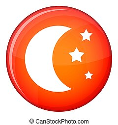 Moon and stars icon, flat style