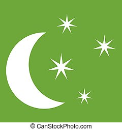 Moon and stars icon green - Moon and stars icon white ...