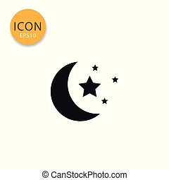 Moon and stars icon isolated flat style.