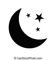 Moon and stars icon isolated on white background, Vector illustration