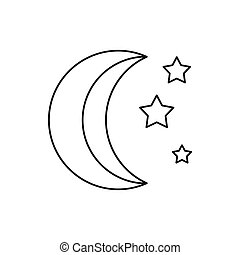 Moon and stars icon, outline style