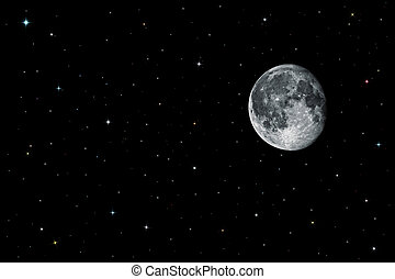 Moon and stars in black space