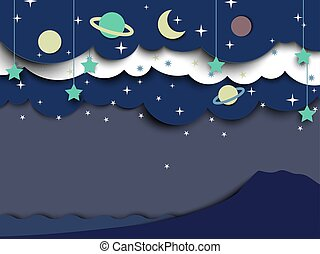 Moon and stars in night sky landscape, paper art/paper cutting style