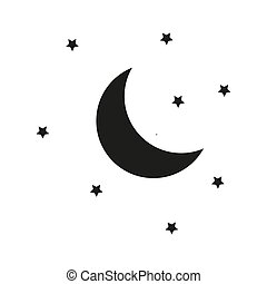 Moon and stars night vector illustration.