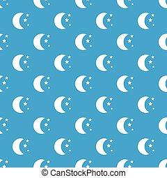 Moon and stars pattern seamless blue