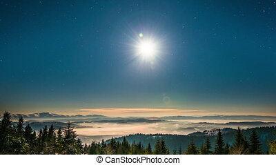 Moon and stars time lapse in Carpathian Mountains