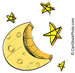 Moon and stars weather icon - Hand drawing sketch on white....