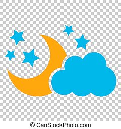 Moon and stars with clouds vector icon in flat style. Nighttime illustration on isolated transparent background. Cloud, moon business concept.