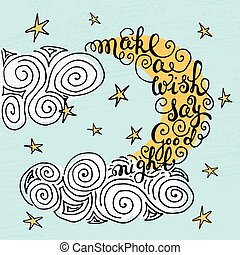 "Moon and stars with hand drawn typography poster. Romantic quote ""Make a wish say good night"" on textured background for postcard or save the date card. Inspirational vector typography."