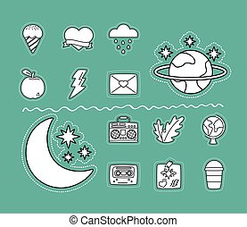 moon and stars with set stickers line style icons