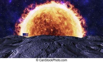 Moon and sun - American flag on the moon.
