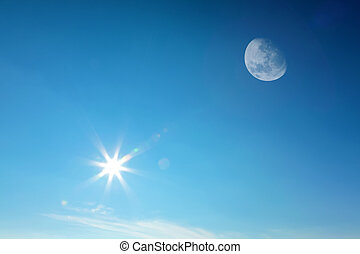 Moon and sun together on sky