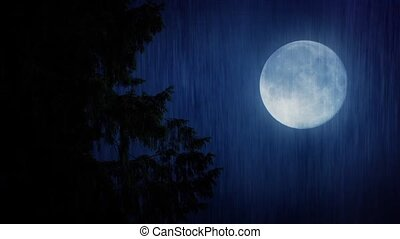 Closeup of big tree branches in the rain with a full moon