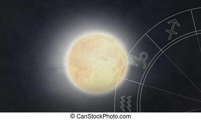 Moon and zodiac wheel