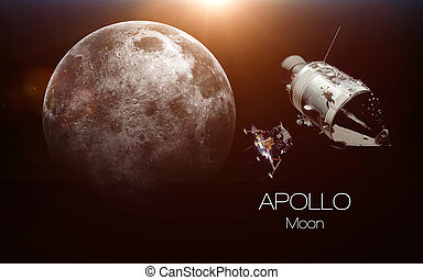 Moon - Apollo spacecraft. This image elements furnished by NASA.