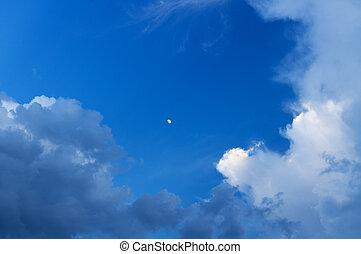 Moon at dark evening sky