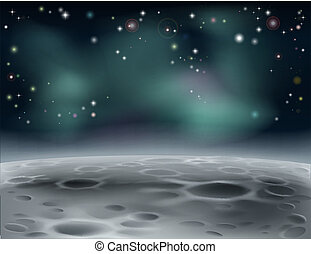 Moon surface or alien word in space background illustration with stars and craters