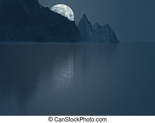 Moon behind mountains