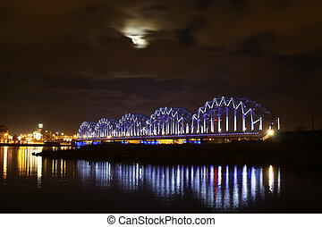 Moon bridge and river - Night lighted bridge withh moon and...