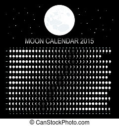 Moon calendar 2015 on black background