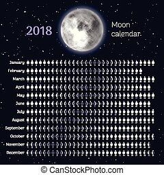 Moon phases calendar for 2019 with realistic moon  september