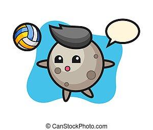 Moon cartoon is playing volleyball