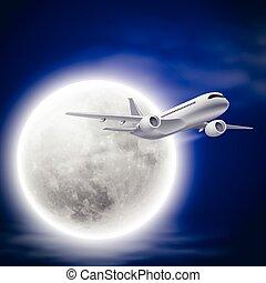moon., ciel, avion, nuit