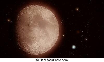 Moon closeup with stars flickering around it