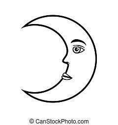 moon crescent face