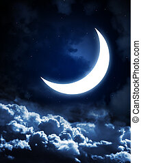 Moon - Night fairy tale - bright moon in the night sky