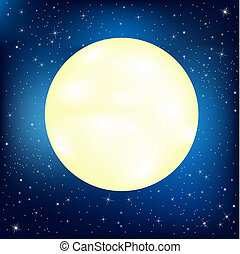 Moon - Night Sky With Stars And Moon, Vector Illustration